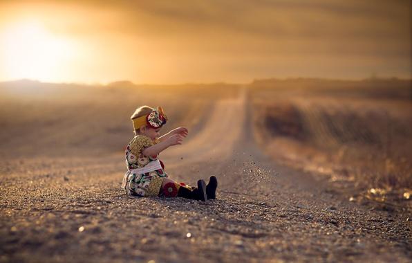 Картинка дорога, платье, простор, девочка, боке