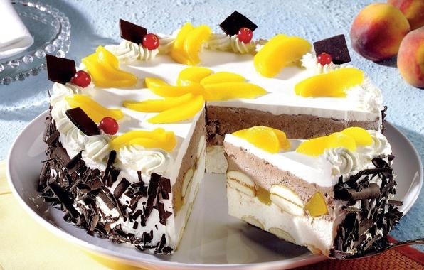 Картинка желтый, еда, пища, сладости, торт, фрукты, персик, десерт, дольки, вкусно