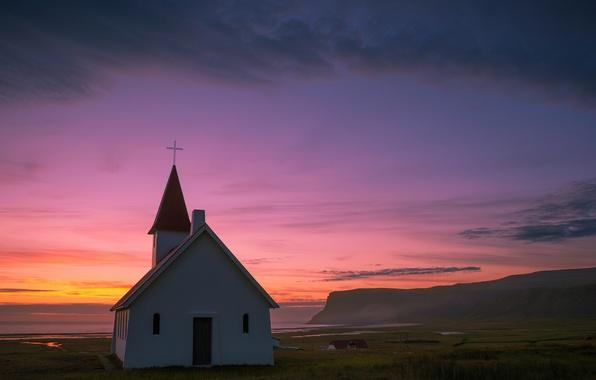 Картинка море, небо, облака, закат, вечер, холм, Исландия, вдали, церквушка