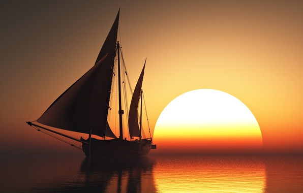 Картинка sky, sea, sunset, sun, romantic, beauty, orange, boat, emotions, sailing
