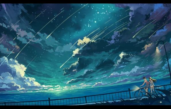 Картинка небо, девушка, звезды, облака, пейзаж, природа, велосипед, океан, аниме, арт, фонари, парень, haraguroi you