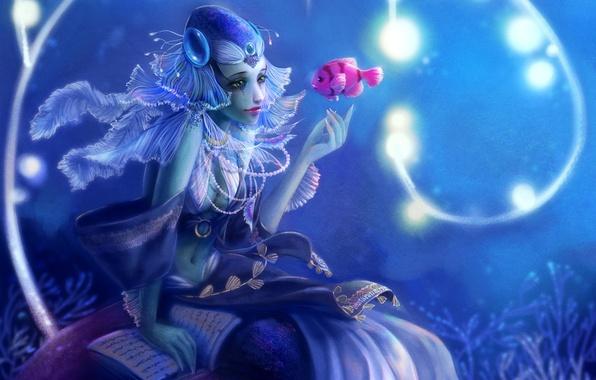 Картинка девушка, русалка, рыбка, рыба, фэнтези, арт, бусы, книга, под водой, Yangtian Li