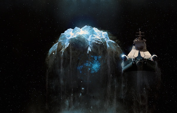 Картинка космос, фантастика, арт, астероид, космический корабль
