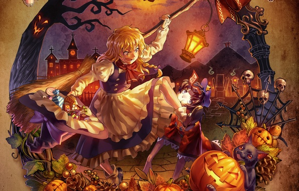 Картинка девушка, игры, аниме, арт, halloween, touhou, remilia scarlet, alice margatroid, kirisame marisa, shanghai, flandre scarlet, …