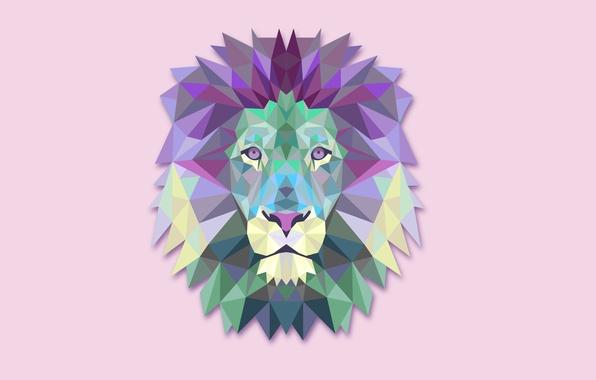 Картинка абстракция, минимализм, лев, светлый фон, lion