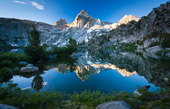 Картинка небо, природа, озеро, отражение, камни, скалы, гора