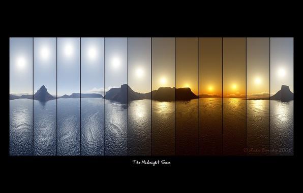 Фото обои надписи, горы, компановка, The Midnight Sun, коллаж, фотосъемка, море, солнце