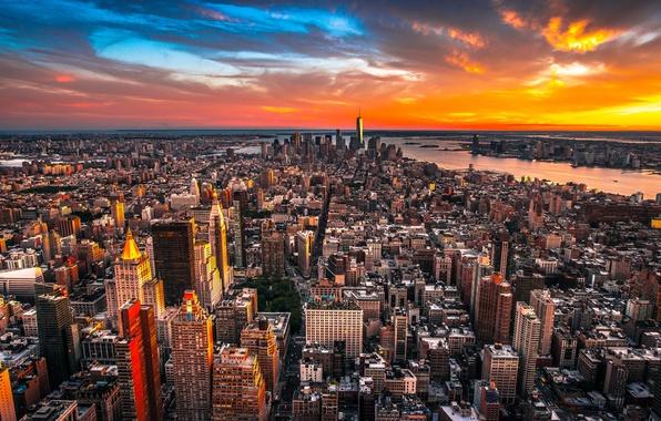 Картинка City, Clouds, Sky, Sunset, New York, Street, Skyline, Architecture, Homes