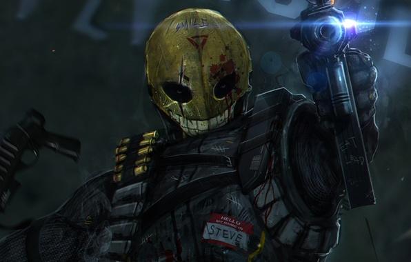 Картинка улыбка, оружие, кровь, мужик, маска, арт, солдат, автомат, стрельба, патроны, smile, рана, steve