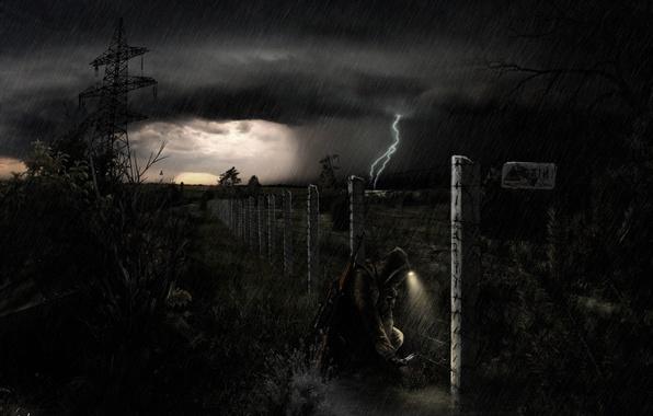 Картинка гроза, ночь, дождь, солдат, чернобыль, stalker, зона