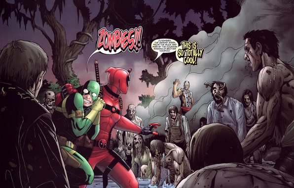 Картинка страх, зомби, ужас, gun, zombies, marvel, комикс, comics, deadpool, heroes, ninja