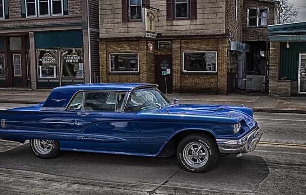Картинка синий, HDR, Ford, Форд, 1959, Thunderbird, Тандебёд