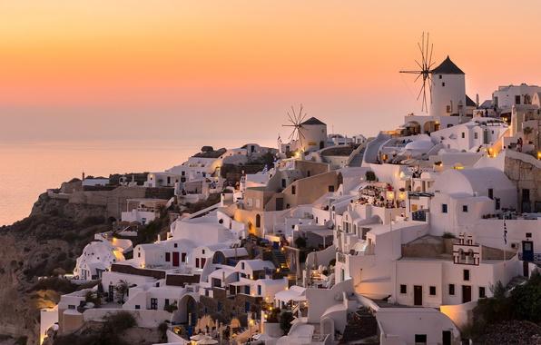 Картинка небо, вечер, Греция, городок