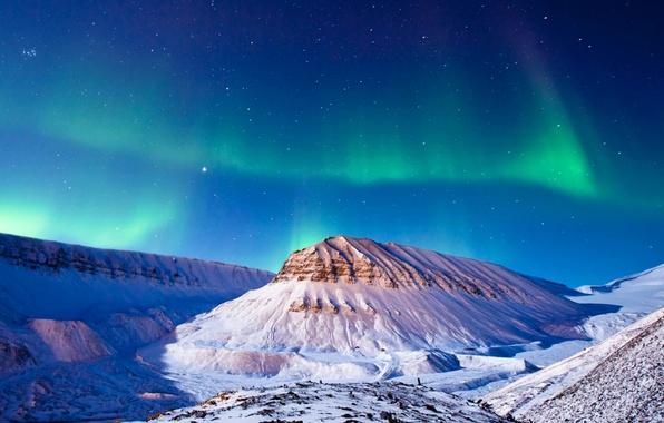 Картинка зима, звезды, снег, горы, ночь, северное сияние