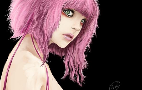 Картинка девушка, темный фон, пирсинг, арт, розовые волосы