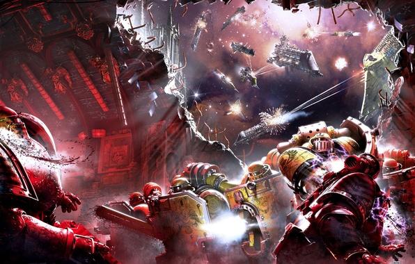 Картинка корабли, Horus Heresy, Warhammer 40000, штурм, космодесант, битва в космосе, Shadows of Treachery, Neil Roberts, …