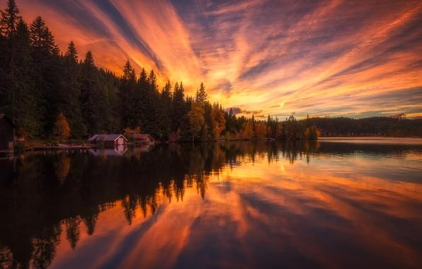 Картинка небо, вода, деревья, пейзаж, закат, природа, отражение, домики