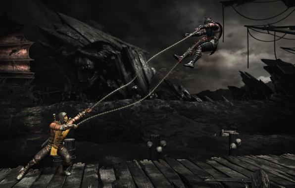 Картинка бой, арена, Scorpion, Sub-Zero, Mortal Kombat X, гарпуны
