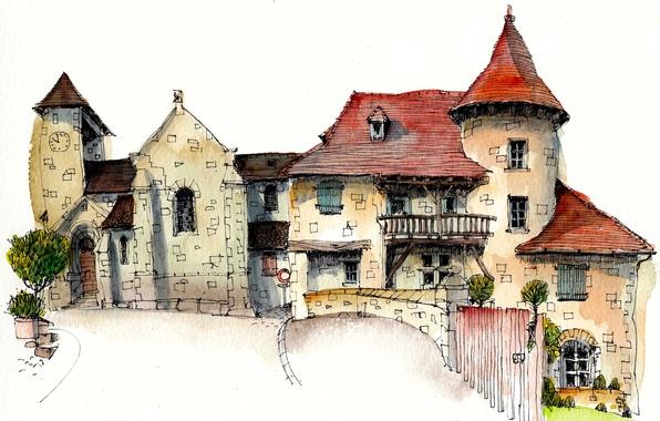 Картинка город, краски, рисунок, Франция, дома, Кюрмонт