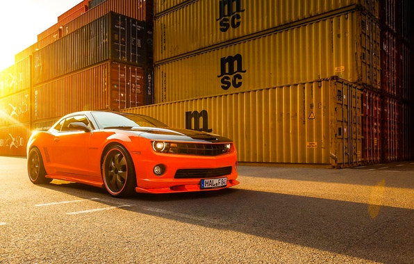 Картинка Chevrolet, Muscle, Camaro, Orange, Car, Front, Sun, Tuning, Wheels, Beam