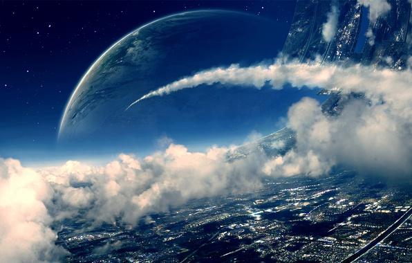 Картинка космос, облака, планета, art, space station