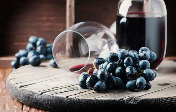 Картинка ягоды, вино, бокал, еда, виноград, напиток