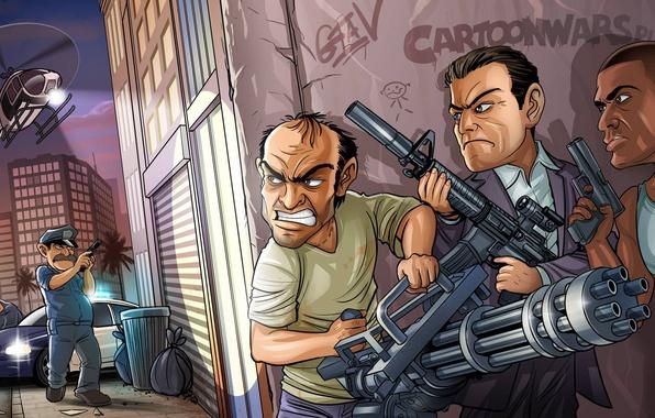 Картинка оружие, бандиты, Michael, Grand Theft Auto V, GTA 5, Rockstar North, Rockstar Games, Franklin, Trevor …