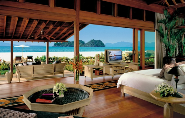 Картинка море, пейзаж, диван, вилла, книги, кровать, телевизор, столик, спальня, villa, остров., malaysia