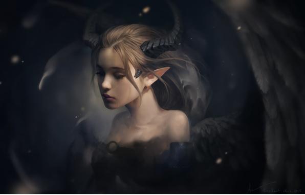 Картинка грусть, девушка, настроение, крылья, фэнтези, арт, слеза