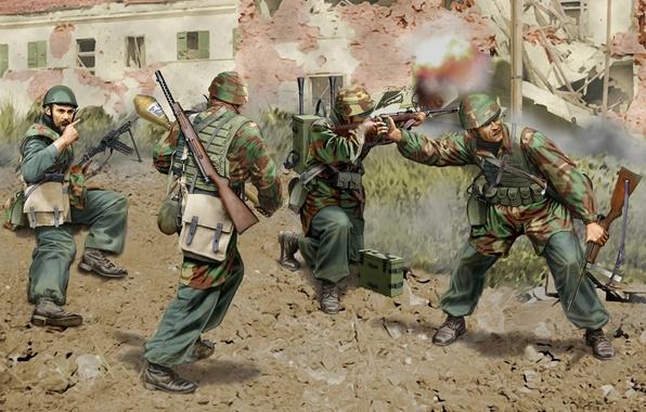 Картинка город, оружие, война, улица, рисунок, арт, экипировка, амуниция, автоматы, WW2, карабины, итальянские парашютисты, фауст-патрон