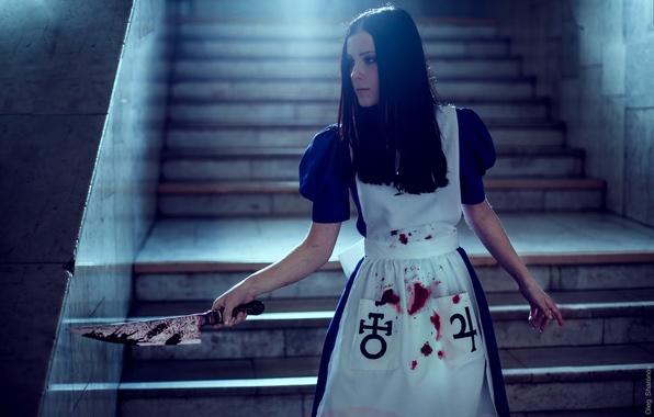 Картинка девушка, фон, нож