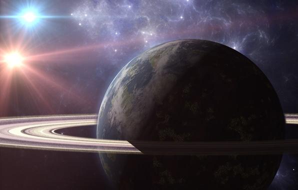 Картинка космос, звезды, туманность, планета, кольца, арт, гигант, две звезды