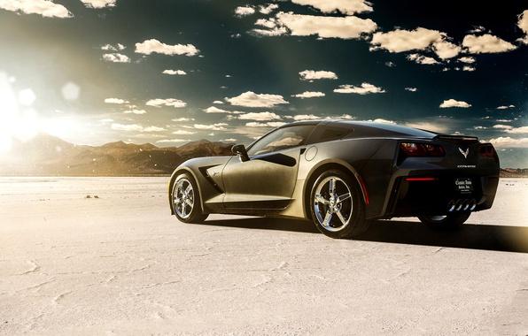 Картинка car, озеро, пустыня, Corvette, Chevrolet, black, rear, Stingray