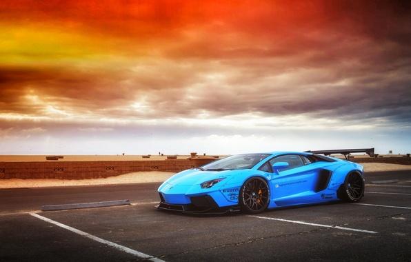Картинка Lamborghini, Sky, Blue, Front, Sunset, Aventador, Supercar, LP720-4, Liberty, Walk, LB Perfomance