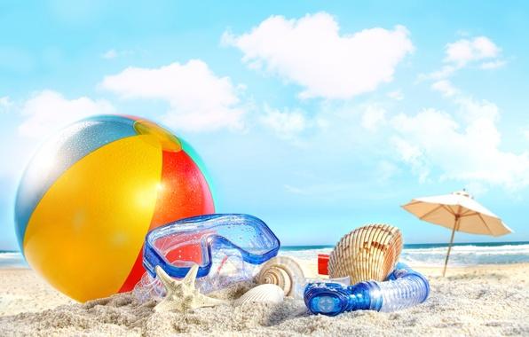 Картинка море, пляж, лето, небо, облака, beach, sky, sea, nature, clouds, sand, ball, shells