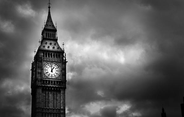 Картинка город, стрелки, англия, башня, лондон, Часы, london, england, биг бен, часовая башня, united kindom