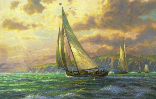 Картинка море, волны, парус, живопись, sea, Томас Кинкейд, парусники, painting, Thomas Kinkade, Новые горизонты, New Horizons