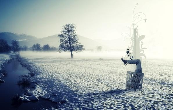 Картинка лед, зима, снег, пейзаж, природа, чистота, туман, стиль, река, мусор, в снегу, половина, в сугробе, …