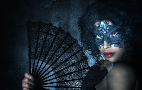 Картинка взгляд, девушка, рендеринг, рука, маска, веер