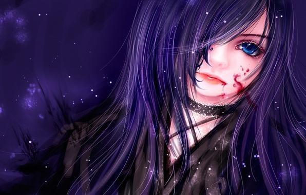 Картинка взгляд, кровь, блеск, Девушка, голубые глаза, art, little33cat
