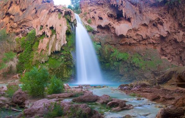 Картинка скала, Аризона, Гранд-Каньон, Arizona, Grand Canyon, Havasu Falls, водопад Хавасу, Большой каньон