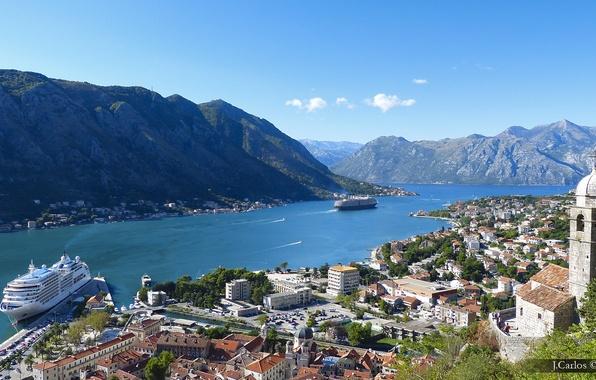 Картинка горы, панорама, залив, лайнер, Черногория, Котор, Montenegro, Которский залив, Kotor, хребет Ловчен, Bay of Kotor, …