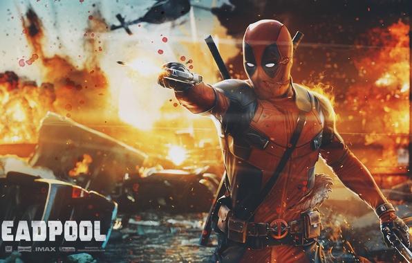 Картинка Пистолет, Меч, Deadpool, Marvel, Дэдпул, Wade Wilson