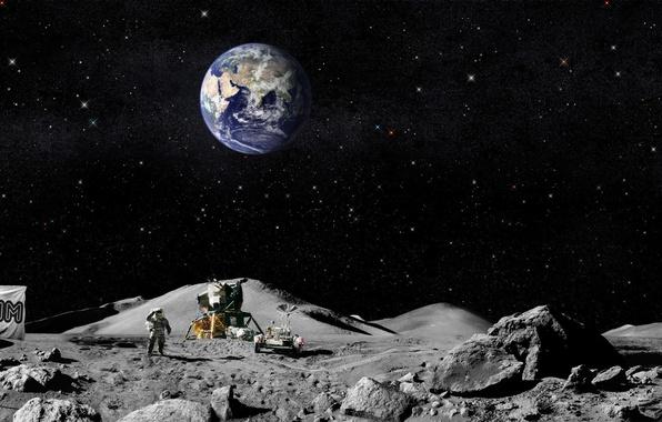 Картинка земля, луна, флаг, американцы, Астронавты