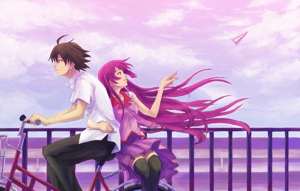 Картинка небо, девушка, велосипед, ветер, профиль, мужчина, рубашка, длинные волосы, senjougahara hitagi, bakemonogatari, короткие волосы, объятие, …