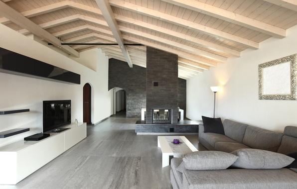 Картинка дизайн, стиль, серый, диван, интерьер, подушки, зеркало, телевизор, камин, столик, гостиная