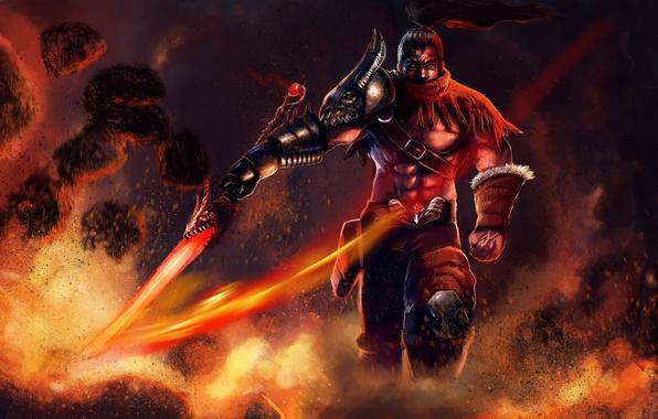 Картинка огонь, меч, воин, арт, мужчина, League of Legends, Yasuo