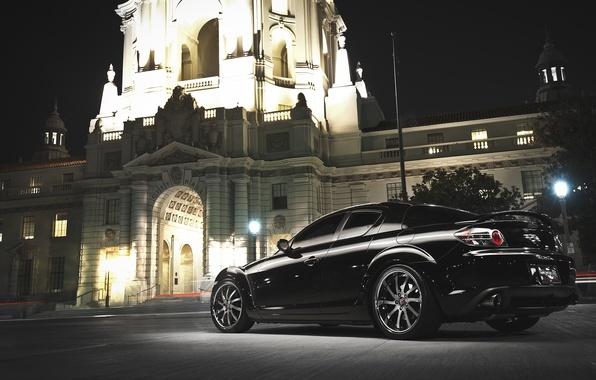 Картинка Авто, Черный, Ночь, Машина, Здание, Mazda, RX 8