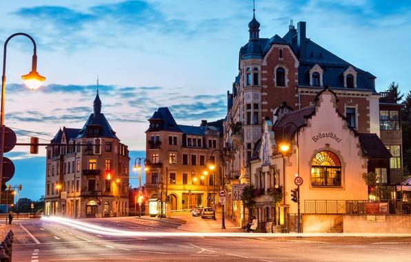 Картинка дорога, свет, город, дома, утро, выдержка, Германия, Дрезден, фонари, Germany, Dresden, Deutschland, Вахвиц, Wachwitz
