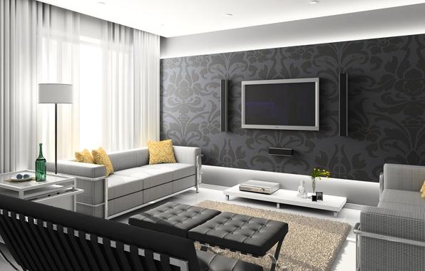 Картинка белый, стол, серый, комната, диван, черный, интерьер, телевизор, колоки